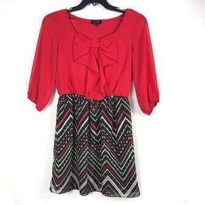 A. Byer Women's Sheer Long Sleeves Dress